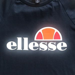 ELLESSE LONG SLEEVE NAVY BLUE CROPPED TEE SHIRT 14